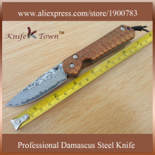 DS022 hot sale damascus steel  knife palo santo wood handle pocket clip knife camping knife folding blade knife