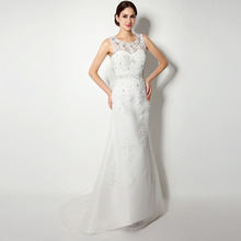 Hot Sale Mermaid Long Wedding Dresses 2016 Scoop Neck Tulle with Applique and Beads Women Bridal Gowns In Stock Robe De Mariage
