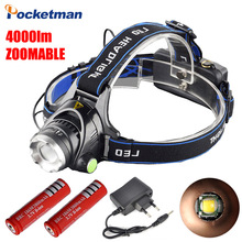 Waterproof LED Headlight CREE T6 Headlamp 4000LM with 18650 Battery Charger Head Lamp LED Flashlights Head Torch Camping Fishing