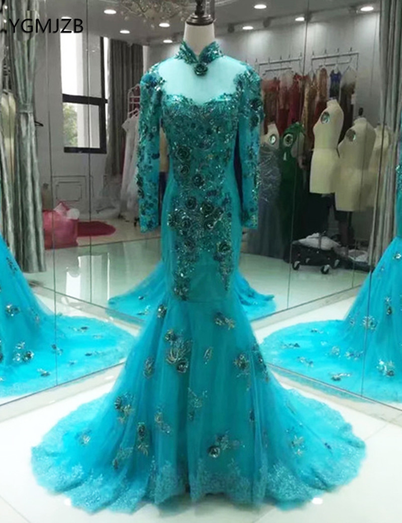 Robe De Soiree Arabic Long   Evening     Dress   Mermaid High Neck Appliques Beaded Long Sleeves Green Women Formal   Evening   Party Gowns