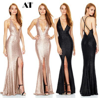 Mermaid Dress Women's tight fish tail Dress elegant package hip slim formal Dress