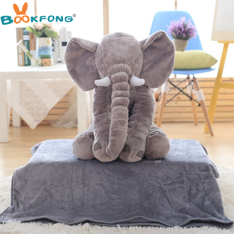 60cm Stuffed Elephant Plush Toy Soft Elephant Pillow with Blanket Doll Kids Baby Sleep Warm Blanket 2 in 1 Pillow Home Decor garda decor тумба прикроватная зеркальная