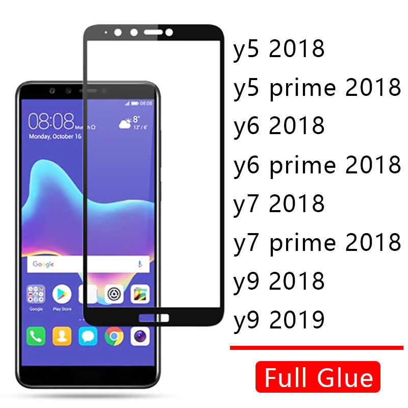 Case On For Huawei Y5 Y6 Y7 Prime 2018 Y9 2019 Cover Full Glue Tempered Glass Honor Y 5 6 7 9 Phone Screen Protector Protective