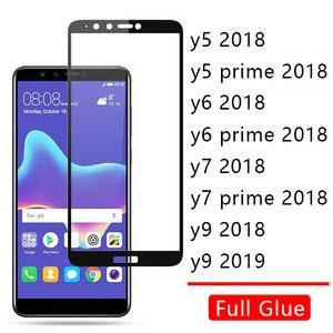 Чехол для Huawei Y5 Y6 Y7 Prime 2018 Y9 2019, полностью клеящееся закаленное стекло, Защитная пленка для экрана телефона Honor Y 5 6 7 9