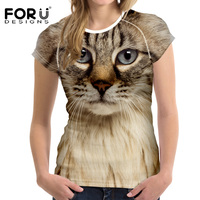 FORUDESIGNS Black Cat Printing Women T Shirt 3D Cat Dog T Shirt Casual Female Round Neck