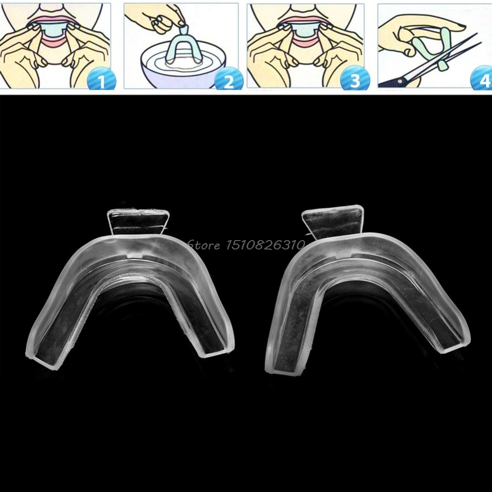 2Pcs Thermoform Moldable Mouth Teeth Dental Trays Tooth Whitening Guard Whitener New #E207Y# Hot Sale