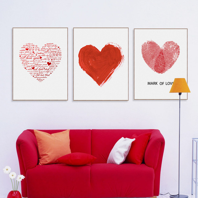 Romantic Waterproof Love Heart Theme Canvas Wall Painting