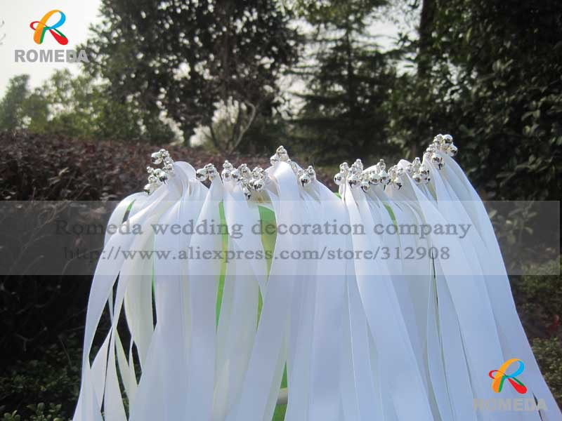 ⑥FREE SHIPPING--(50Pieces/Lot)Style A white ribbon wedding wands ...