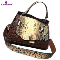 2018 Luxury Brand Women Handbag Python Crocodile Pattern Genuine Cow Leather Famous Designer Handbag Vintage Ladies
