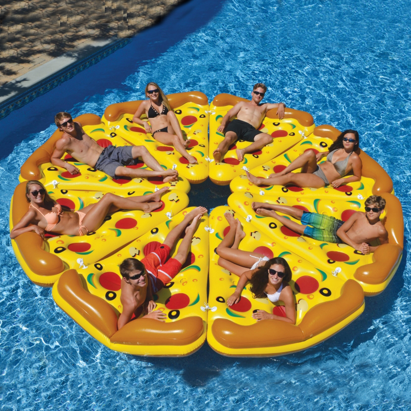 Giant Pizza Slice Pool Inflatable Toy Swimming Game Toys Air Mattresses Large Floating Island Boat Toy Party Summer Fun Pontoon funny fishing game family child interactive fun desktop toy