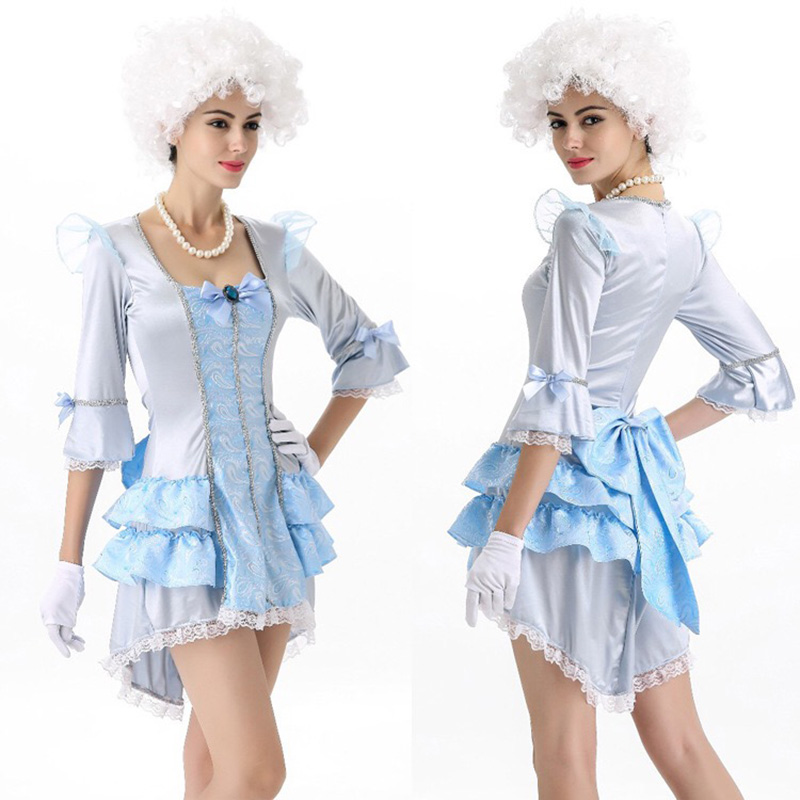 Adult Women Luxury British Queen Costume Half Sleeve Ball Lace Dress Embroidery Masquerade Party Princess Lace Suits For Girls