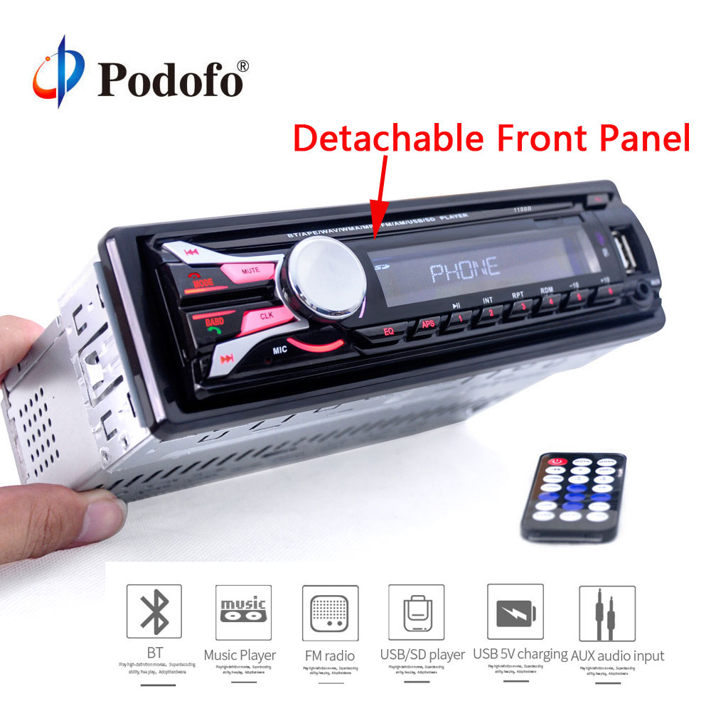 Podofo Car Radio Stereo Player Bluetooth Phone AUX-IN MP3 FM/USB 1Din remote control 12V Car Audio Stereo Hands-free Call radios