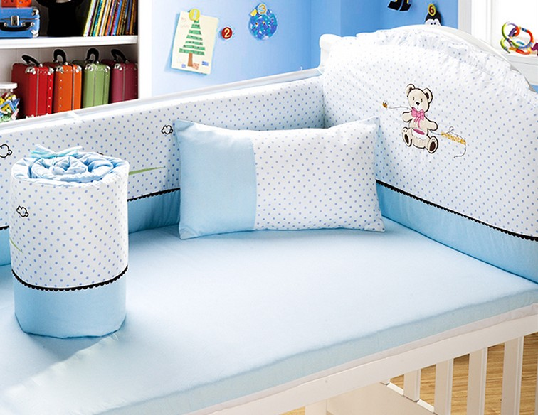 Ropa Cuna 6PCS Baby Bedding Set Cotton Baby Boy Bedding Crib Sets Bumper For Cot Bed,(4bumpers+sheet+pillow)