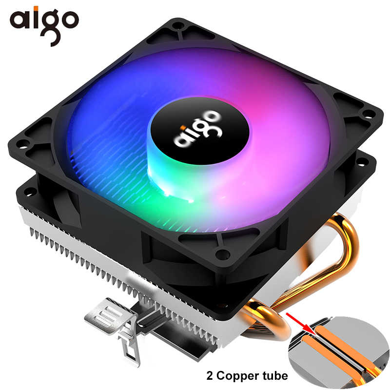 Aigo CPU Cooler 90 Mm Fan Cooling 2 Heatpipe CPU Penggemar 3Pin PC Pendingin Radiator Heatsink untuk LGA/775 /1156/1366/AM4/AM3/AM2 +/AM2