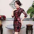 TIC-TEC chinese traditional dress women cheongsam short qipao vintage velvet slim elegant oriental dresses wedding clothes P3006