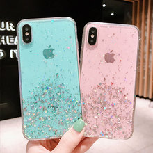 RKQ Sparkling Star Silver Foil Soft TPU Back Style Phone Case Cover For Iphone 6 6S 7 8 Plus X XS XR XS Max TPU Case Cover