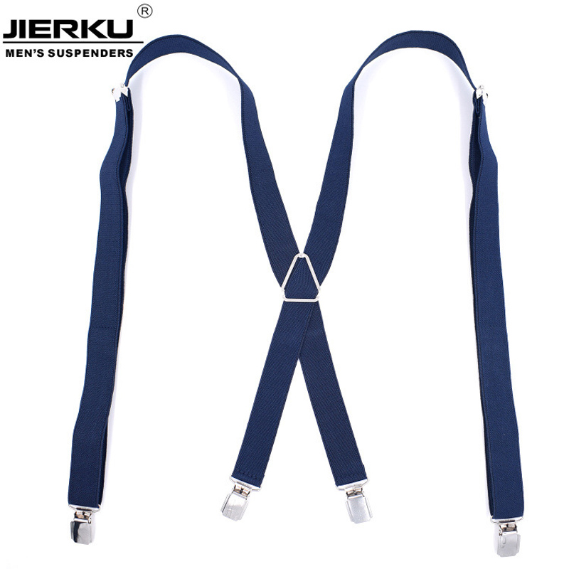 JIERKU Suspenders Man's Braces Leather 4Clips Suspensorio Tirantes Fashion Trousers Strap Grils Gift  Hombre 2.5*120cm