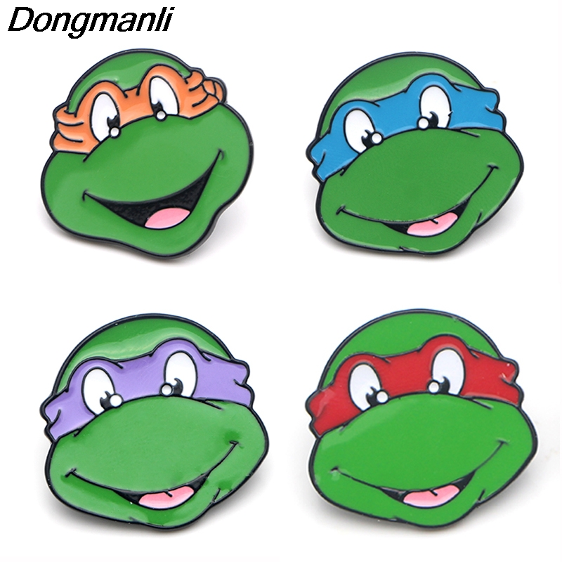 P3834 Wholesale 20pcs lot Fashion Anime Turtle Metal Enamel Brooches and Pins Collection Lapel Pin Backpack