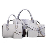 light Grey women's crocodile pattern PU leather sub-package big bag + handbag + shoulder bag + coin + card package