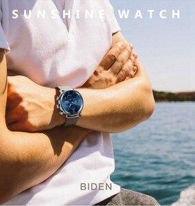 Image 3 - Moda męska Sport zegarek niebieski srebrny chronograf kalendarz Casual Business zegarek kwarcowy mężczyźni wodoodporna stal nierdzewna siateczkowy pasek