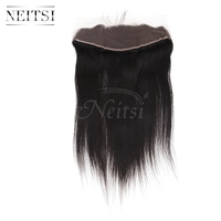 Neitsi Hair 13x4 Peruvian Straight Lace Frontal Closure With Baby Hair Free Part 22 Natural Black