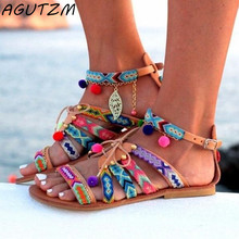 54705fe1155b0c AGUTZM Plus Size 34-43 Ethnic Bohemian Summer Woman Pompon Sandals  Gladiator Roman Strappy Embroidered Shoes Women Flat Sandals