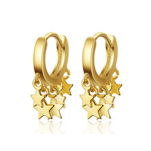 Fashion Gold Silver Hoop Earring Star 925 Sterling Silver Earing For Women Ear Jewelry Korean Orecchini(China)