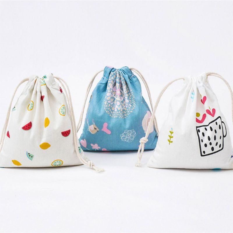 Cartoon Cotton Linen Drawstring Bag Toy Shoes Laundry Organizer Travel Pouch Unisex Fashion Mini Travel Handbags