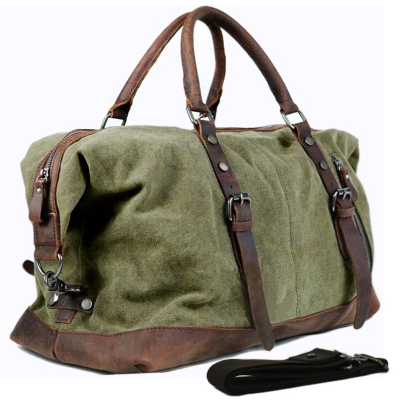 Military Canvas Leather Men s Travel Bag Hand Luggage Bag Carry On Large Men Leather Duffle