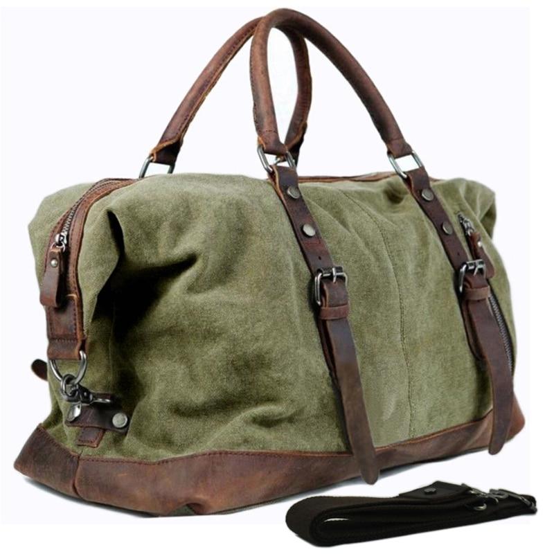 ทหารผ้าใบหนังผู้ชายกระเป๋าเดินทางกระเป๋าเดินทางกระเป๋าขนาดใหญ่หนังผู้ชาย Duffle ใหญ่ Weekend bag-ใน กระเป๋าเดินทาง จาก สัมภาระและกระเป๋า บน   1