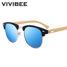 VIVIBEE Semi Rimless Bamboo Men Sunglasses