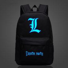 172228b847b Anime Death Note Logo Rugzak Cosplay Logo Badge Lichtgevende Schooltas  Tieners Casual Reistassen(China)