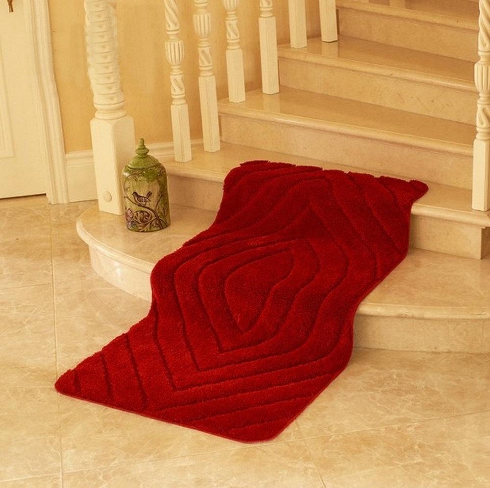 NiceRug Non Slip Bathroom Rugs Dark Red Microfiber Livingroom Carpet Floor Mat Pads For