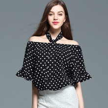 Slash Neck Off Shoulder Flare Sleeve Female Women Summer Shirts Dot  Casual Ruffles Polka Dot  Chiffon Blouse  Top Women