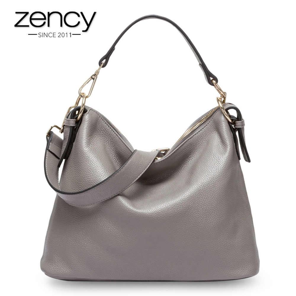 Zency модная серая женская сумка на плечо 100% натуральная кожа сумка Новый стиль Женская сумка через плечо кошелек женская повседневная сумка