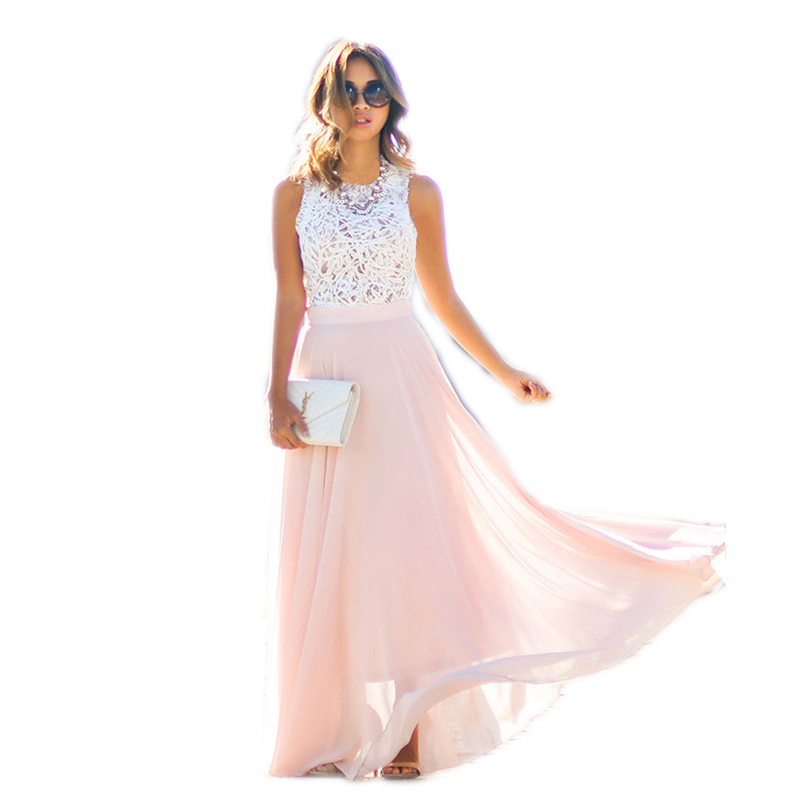 Women Summer Cute Hollow Out High Waist Chiffon Dress Long Maxi Dress Party Beach Dress Sundress