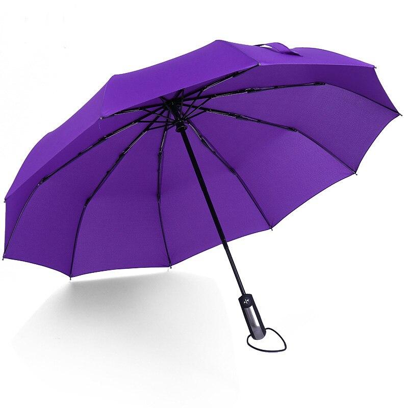 Purple Sugar Skull Rose Graphics Sun Umbrella Compact Folding Travel Umbrella Auto Open And Close For Windproof Rainproof UV Protection Parasol