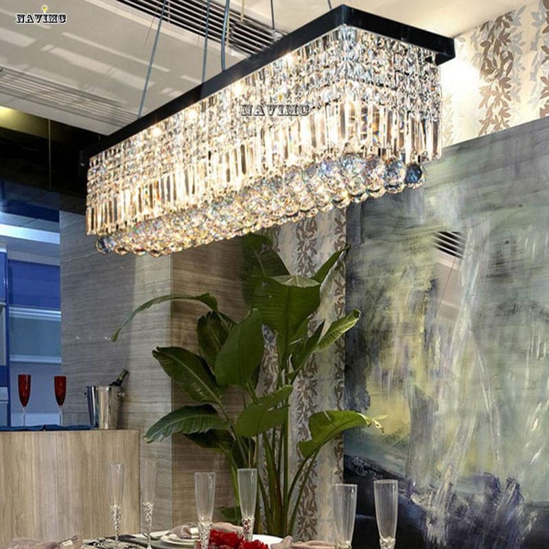 modern large rectangular led crystal chandelier light fixture for