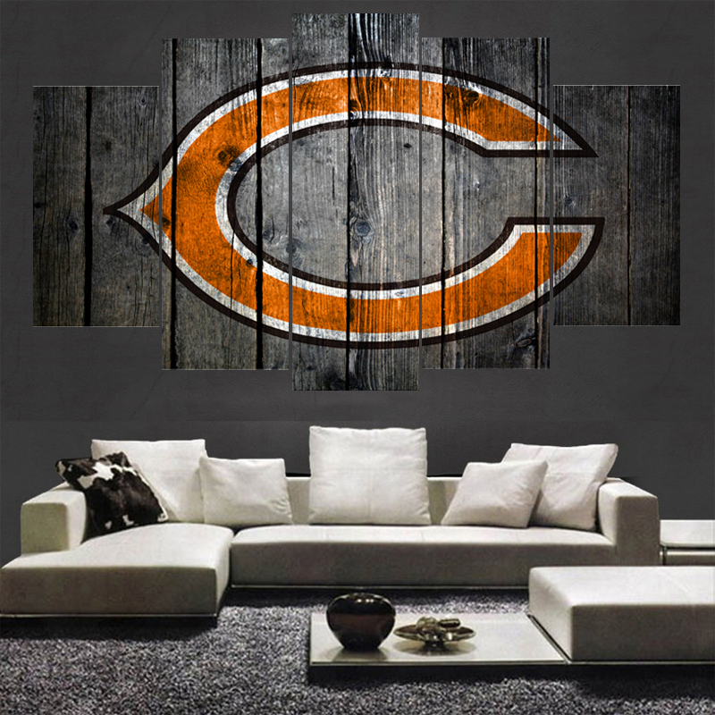 5 Pcs Football Team Chicago Bears Logo Painting Wall Home