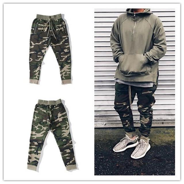 Urbano clothingfashion cantante mens mono harem camo niebla cremallera lateral pantalones joggers pantalón de camuflaje militar del ejército
