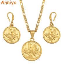 Anniyo Papua New Guinea Butterfly Jewelry set Gold Color Necklace Earrings PNG Jewellery Gifts for Women #138006