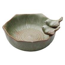 1PC Ceramic Bird Bath Bowl Birdfeeder Feeder For Outside Garden