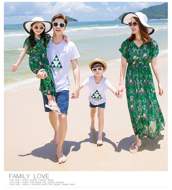 Mother Daughter Dresses Summer 2018 Wave Pattern Bohemian Maxi Dress Family Matching Clothes Cotton T shirt Shorts Family Look
