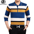 2017 New Fashion Men Polo Shirt Striped Polo Shirts Spring Long Sleeves Camisa Masculina Man Tops & Tees 4XL MT562