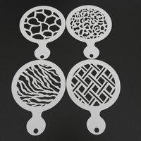 4 個菱形動物の毛皮パターンコーヒーステンシルテンプレート金型プラスチックカプチーノラテアート装飾バリスタツール|stencil template|cake stencilmold plastic -