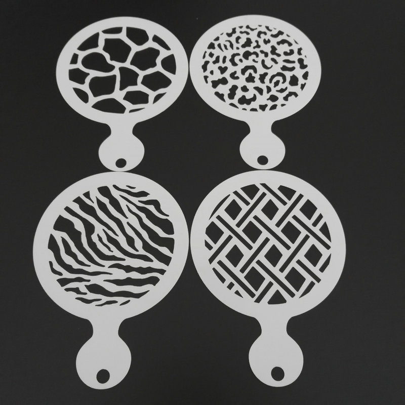 4pcs Rhombus Animal Fur Pattern Coffee Stencils Template Mold Plastic Cappuccino Latte Art Decoration Barista Tools