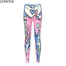 LEIMOLIS 3D print Pink skeleton monster Gothic harajuku sexy plus size high waist push up fitness workout leggings women pants