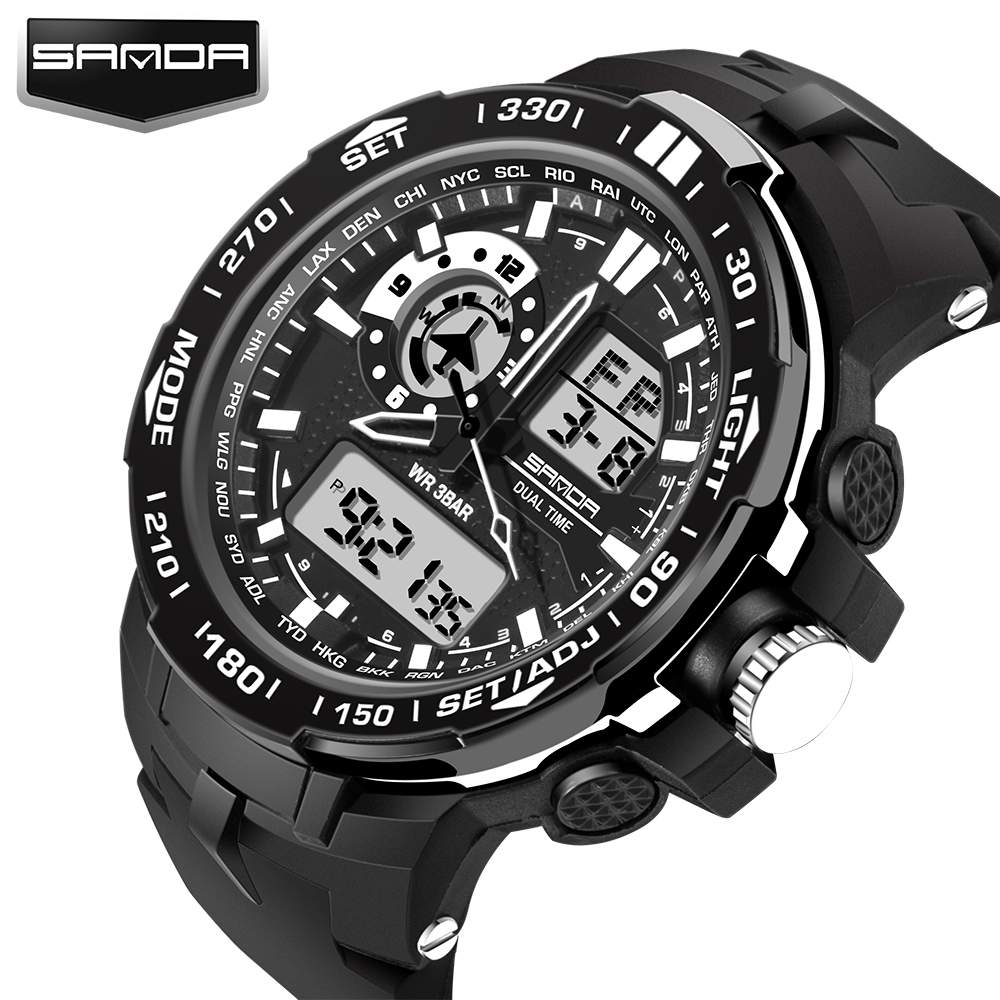 Mote Sport Super Cool Menn Kvarts Digitale Watch Menn Sports Klokker SANDA Luxury Brand LED Militære Vanntette Armbåndsur