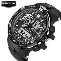 Mode Sport Super Kühlen männer Quarz Digitaluhr Männer Sportuhren SANDA Luxus Marke LED Militärische Wasserdichte Armbanduhren