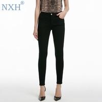 NXH New spring women jeans flare jeans boyfriend pants for women street style Black Bottoms slim skinny jeans woman
